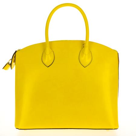 Yellow leather women's tote handbag on white background - Stock photo