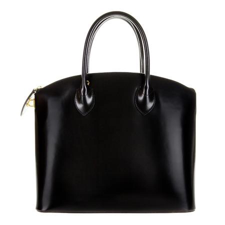 Black leather women's tote handbag on white background - Stock photo