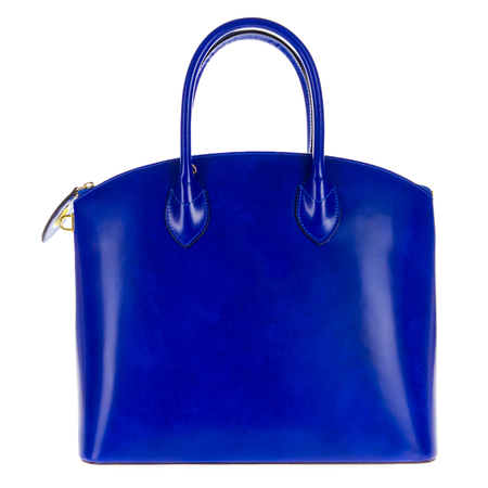 Blue leather women's tote handbag on white background - Stock photo