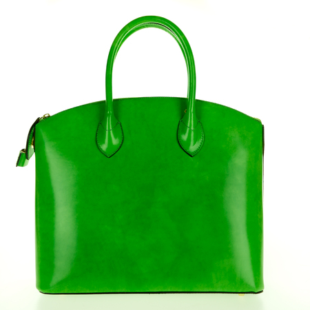 Green leather women's tote handbag on white background - Stock photo