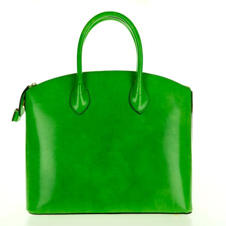 Green leather women's tote handbag on white background - Stock photo