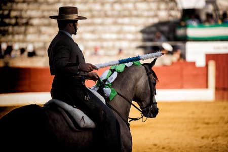 braveness: bullfighter on horseback spanish, Spain