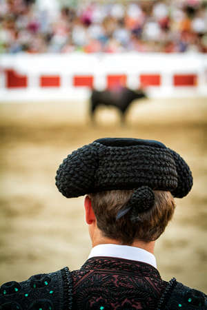 barrie: Bullfighter in the barrier during a bullfight, Spain