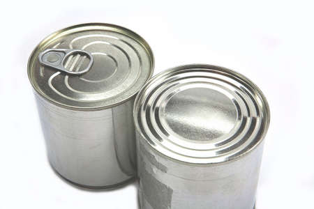 hermetic: different tin cans isolated on white Stock Photo