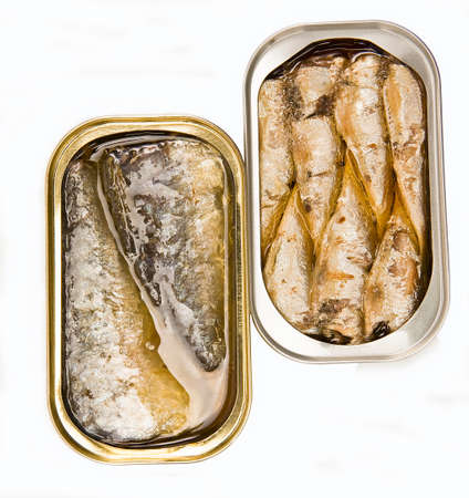 Tins of different sizes and opening, Squid in sauce, mackerel in vegetable oil and sardines Imagens - 23529795