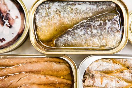 sardine: Lattine di diverse dimensioni e apertura, calamari in salsa, sgombro in olio vegetale e sardine Archivio Fotografico
