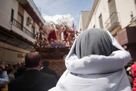 collectivity: costalero during a procession of holy week, Andalucia, Spain Stock Photo