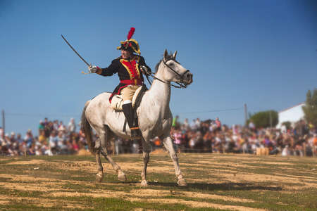 historical period: French General on horseback indicating troops attack on the battlefield in Representation of the Battle of Bailen, Bailen,  Jaen province, Andalusia, Spain