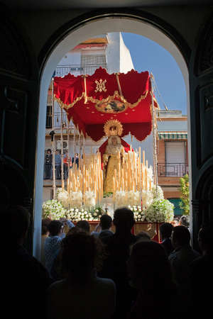 palm sunday: Inside the church San Jose, Pallium of the Virgen de la Alegria during Easter procession, palm Sunday, Linares Jaen province, Andalucia, Spain Editorial