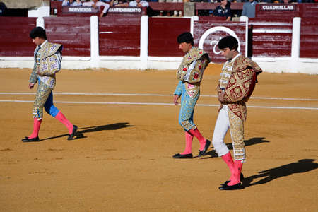 el fandi: The spanish bullfighter El Fandi, Juan Luis Pizarro and Enrique Ponce at the paseillo or initial parade, Linares, Jaen province, Spain, 5 october 2008 Editorial