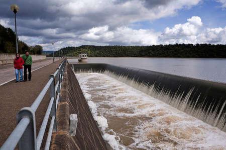 Spillway in the reservoir of San Rafael de Navallana, near Cordoba, Andalusia, Spain