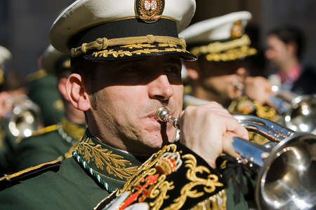 palm sunday: Brass band musicians, Palm Sunday, Linares, Jaen province,  Spain