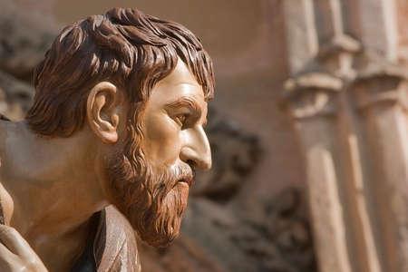 Figure carved in wood of Judas Iscariot, Brotherhood of the Santa Cena Sacramental, Linares,  Jaen province, Spain Banco de Imagens