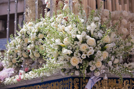collectivity: Detail of floral ornamentation on a throne of Holy week, linares, Ja�n province, Spain