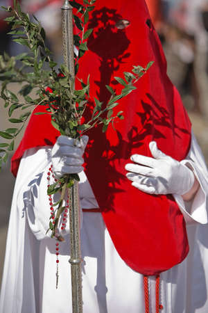 collectivity: Penitent with a crosier carried olive branches during a procession of holy week on Palm Sunday, Spain Stock Photo