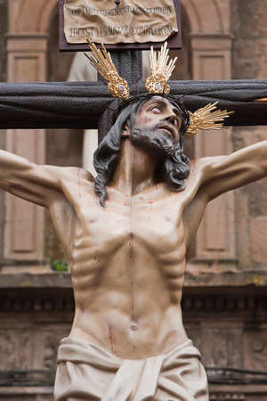 collectivity: Figure of Jesus on the cross carved in wood by the sculptor Gabino Amaya Guerrero, Holy Christ of the expiry, Linares, Jaen province, Spain