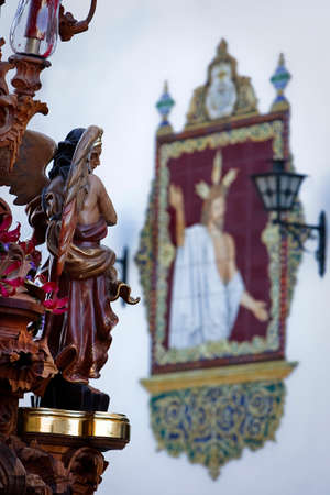 collectivity: Archangel sculpted in polychromatic cedar wood, art of baroque style in Holy Week, Spain