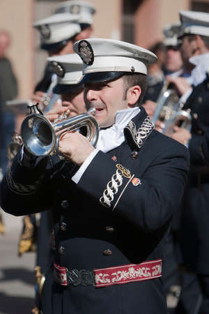 palm sunday: Brass band musicians, Palm Sunday, this band wears the uniform of Captain of Squad of the Royal escort of Alfonso XIII, Linares, Jaen province,  Spain