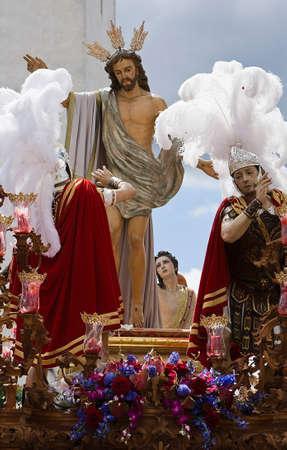 fraternidad: Hermandad de Nuestro Padre Jes�s resucitado, Linares, Jan, Espa�a Foto de archivo