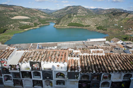 View of the reservoir of Iznajar from the municipal cemetery, C—rdoba province, Andalucia, Spain photo