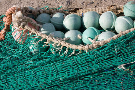 trawler net: fishing net at an old port, Estepona, Malaga province, spain