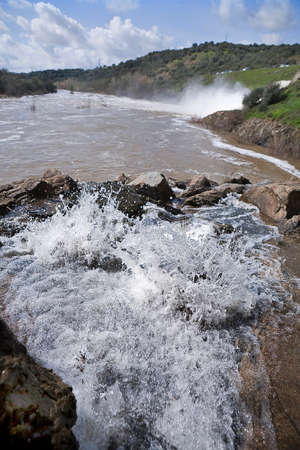 san rafael: Spillway in the reservoir of San Rafael de Navallana, near Cordoba, Andalusia, Spain