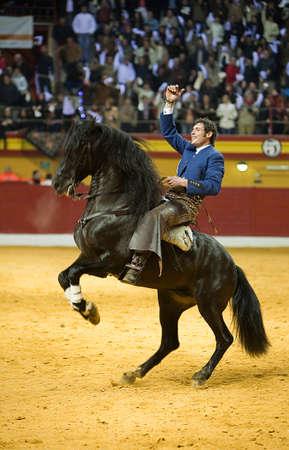 braveness: Miguel Angel Martin, bullfighter on horseback spanish, Atarfe, Granada province Spain, 1 February 2009