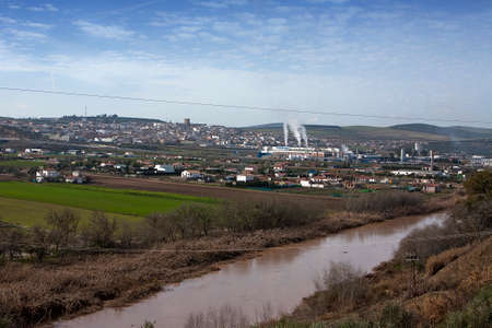 industrial park: Panorama of Mengibar and industrial park, the Guadalquivir to its step along province of Jaen, Spain