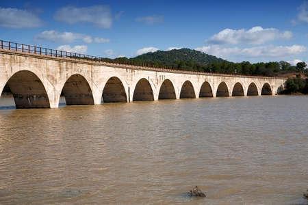 nuevo: Railway line Cordoba - Almorchon, view from the bridge of Los Puerros, municipality of Espiel, reservoir of Puente Nuevo, near C�rdoba, Spain