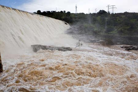 Panoramic view of the dam of Encinarejo, near Andujar, Sierra Morena, province of Jaen, Andalusia, Spain Stock Photo