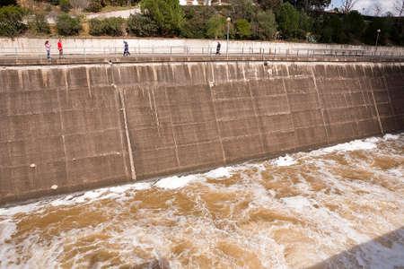 spillway: Spillway in the reservoir of San Rafael de Navallana, near Cordoba, Andalusia, Spain