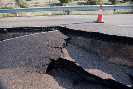 Asphalt road with a crack caused by landslides, Ja�n, autonomous community of Andalusia, Spain Imagens