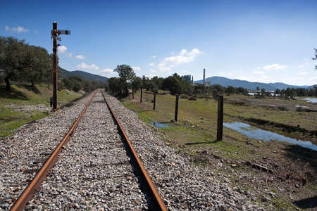 nuevo: Abandoned railway line from C�rdoba to Almorch�n, municipality of Espiel, Embalse de Puente Nuevo, near C�rdoba, SpainAbandoned railway line from C�rdoba to Almorch�n, municipality of Espiel, reservoir of  Puente Nuevo, near Cordoba, Andalusia, Spain