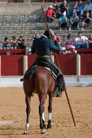 braveness: Alvaro Montes, bullfighter on horseback spanish witch garrocha (blunt lance used on ranches), Ubeda, Jaen, Spain, 29 september 2011