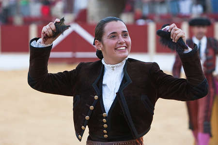Noelia Mota, woman bullfighter on horseback spanish, Ubeda, Jaen, Spain, 29 september  2011