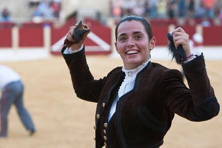 braveness: Noelia Mota, woman bullfighter on horseback spanish, Ubeda, Jaen, Spain, 29 september  2011