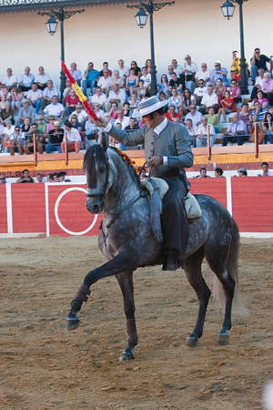 braveness: Alvaro Montes, bullfighter on horseback spanish, Sabiote, Jaen province, Spain, 24 august 2011