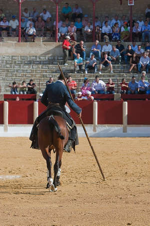 Alvaro Montes, bullfighter on horseback spanish witch garrocha  blunt lance used on ranches , Andujar, Jaen, Spain, 29 september 2011