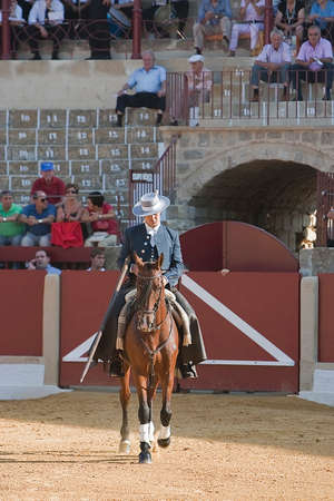 Alvaro Montes, bullfighter on horseback spanish witch garrocha  blunt lance used on ranches , Ubeda, Jaen, Spain, 29 september 2011