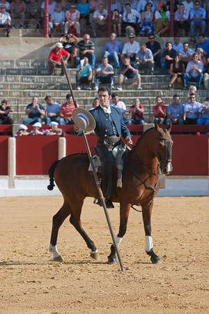 alvaro: Alvaro Montes, bullfighter on horseback spanish witch garrocha  blunt lance used on ranches , Ubeda, Jaen, Spain, 29 september 2011 Editorial