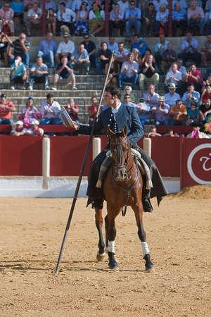 braveness: Alvaro Montes, bullfighter on horseback spanish witch garrocha  blunt lance used on ranches , Ubeda, Jaen, Spain, 29 september2011