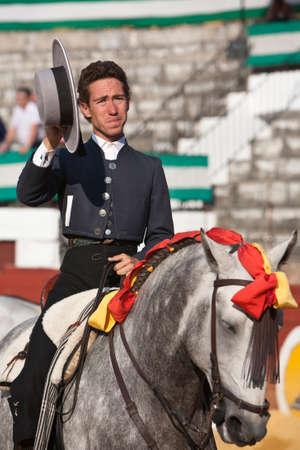 braveness: Leonardo Hernandez, bullfighter on horseback spanish, Baeza, Jaen province, Spain, 13 august 2010