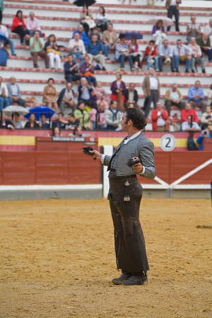 braveness: Alvaro Montes, bullfighter on horseback spanish, Coso de la Alameda, Jaen, Spain, 13 october2008