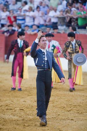 Leonardo Hernandez, bullfighter on horseback spanish, Baeza, Jaen province, Spain, 14 august 2009 Editorial