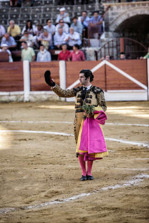 spainish: Ubeda, Jaen province, SPAIN - 29 september 2010  Spainish bullfighter Morante de la Puebla with montera in right hand and left hand rosemary thanking the public at the end of his show in the Bullring of Ubeda, Jaen province, Andalusia, Spain