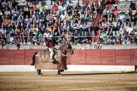 weaken: Baeza, Jaen province, SPAIN - 15 august 2009  Picador bullfighter, lancer whose job it is to weaken bull Editorial