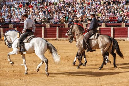 bullfighters: Ubeda, Jaen province, SPAIN - 2 october 2010  Spanish bullfighters on horseback Leonardo Hernandez, Fermin Bohorquez And Joao Moura at the paseillo or initial parade in Ubeda, Jaen province, Spain