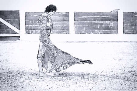 braveness: Villacarrillo, Jaen province, SPAIN - 12 september 2008  Drawing pencil on white canvas of French Bullfighter during a bullfight held in the Bullring of Villacarrillo, Jaen province, Andalusia, Spain Editorial