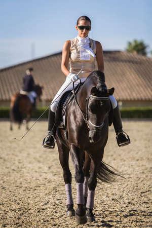 morphology: Estepona, malaga province, SPAIN - 4 july 2009  Beautiful Amazon training during an exercise of equestrian morphology of horses of pure Spanish race in Estepona, Malaga province, Andalusia, Spain