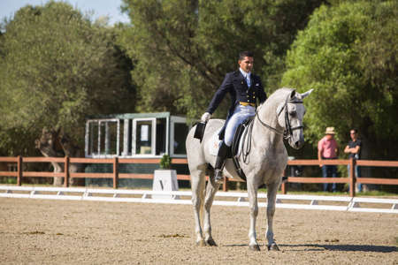 Montenmedio, Cadiz province, SPAIN - 12 july 2009  Spanish purebred horse competing in dressage competition classic, Montenmedio, Cadiz province, Andalusia, Spain 新聞圖片